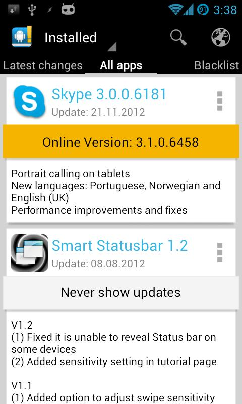 Changelog Droid - update online free apps