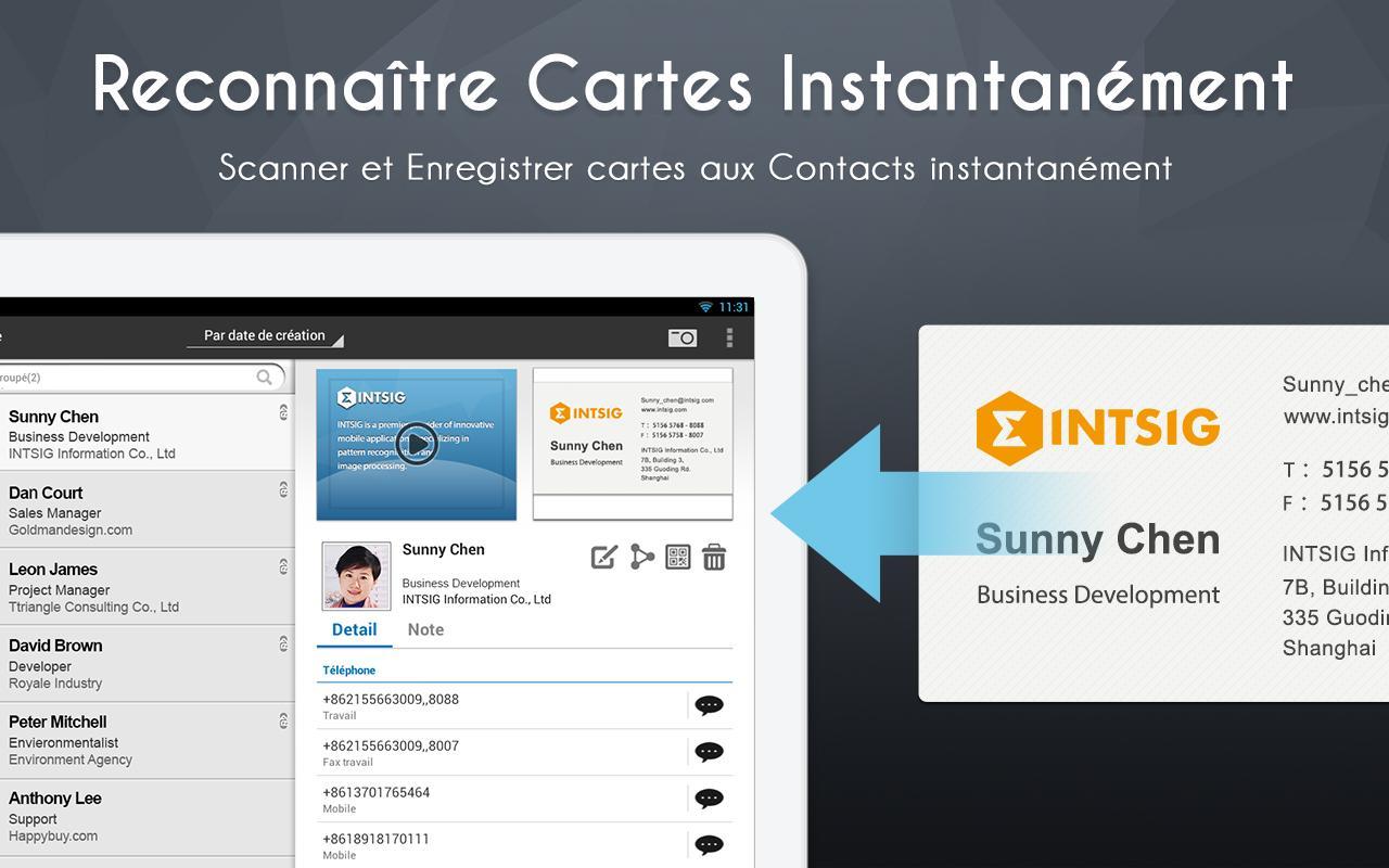 CamCard Lite Toutes Vos Cartes De Visites Dans Votre Smartphone