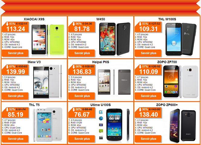 Smartphones pas chers petits prix