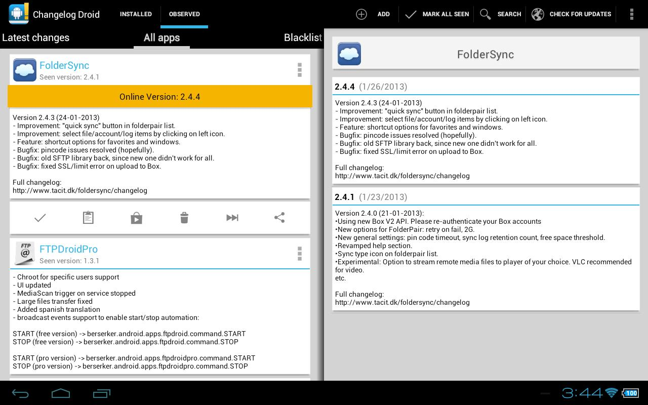 Changelog Droid - tablette free apps
