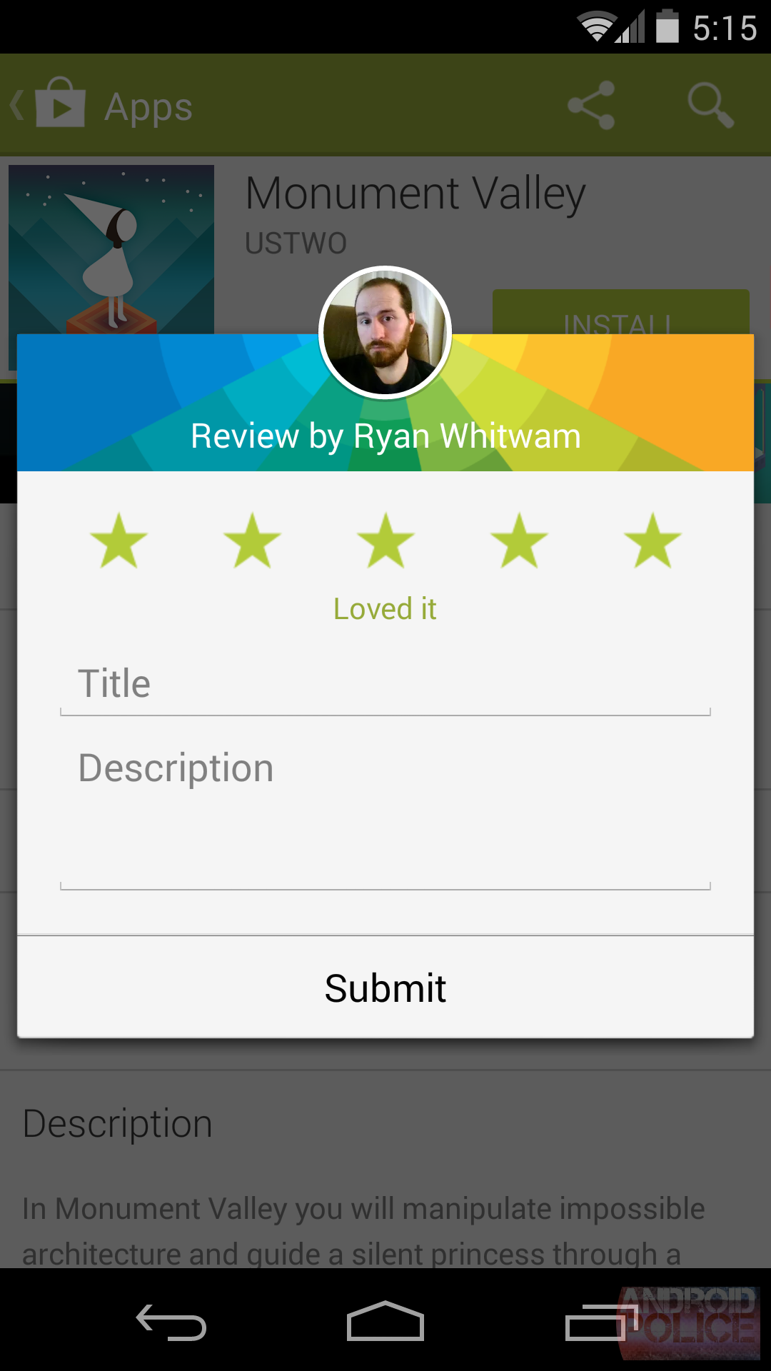 Google Play Store - note after
