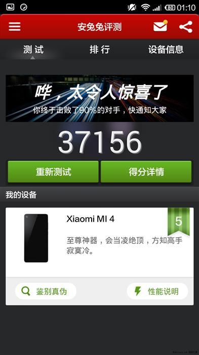 Benchmark Xiaomi Mi4