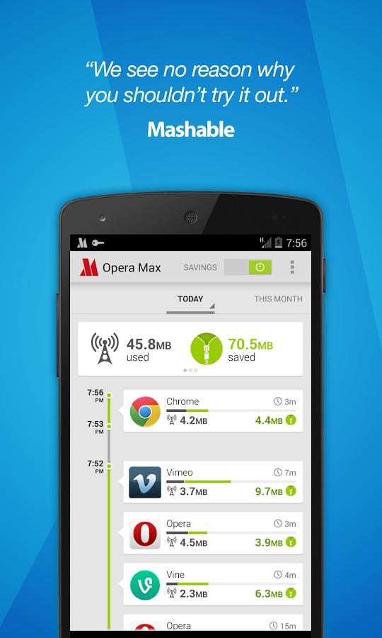 Opera Max beta - Data manager-Surveillez a chaque moment votre data free apps