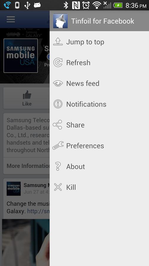 Tinfoil for Facebook-menu droit général