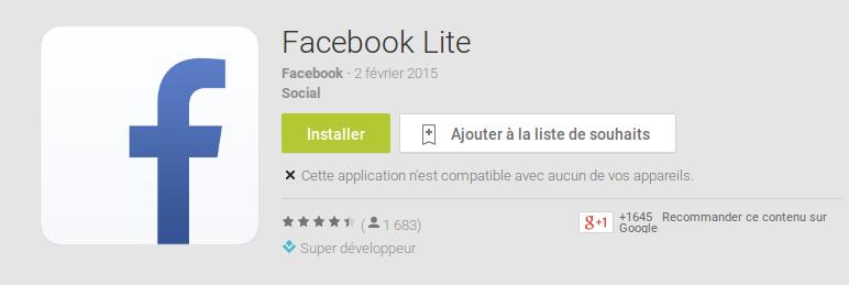 Facebook Lite - non compatible?