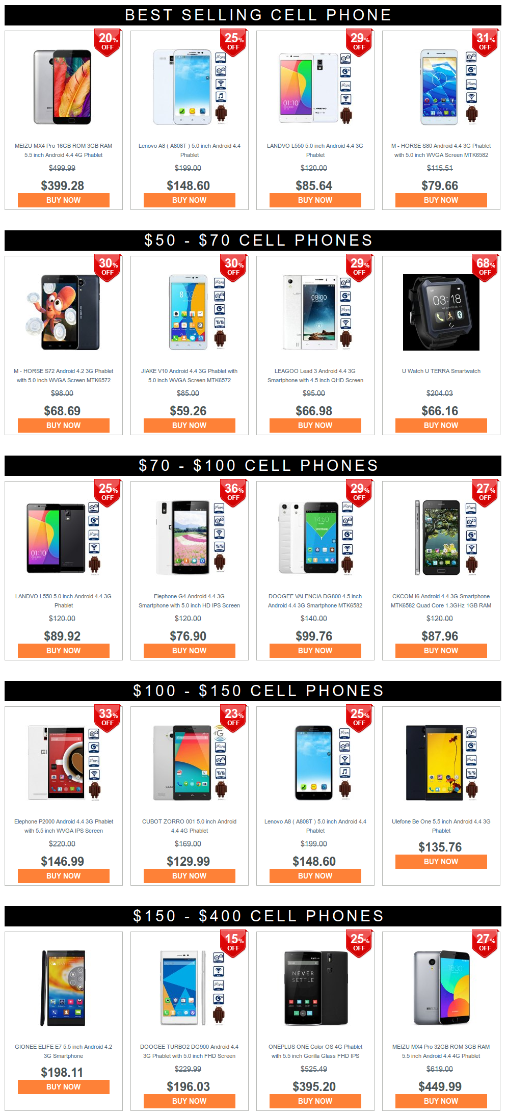 Déstockage smartphones chinois - offres