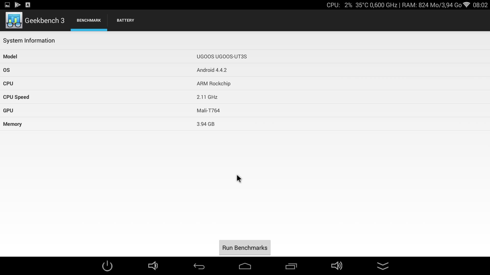UGOOS UT3S - GeekBench3 2.1ghz