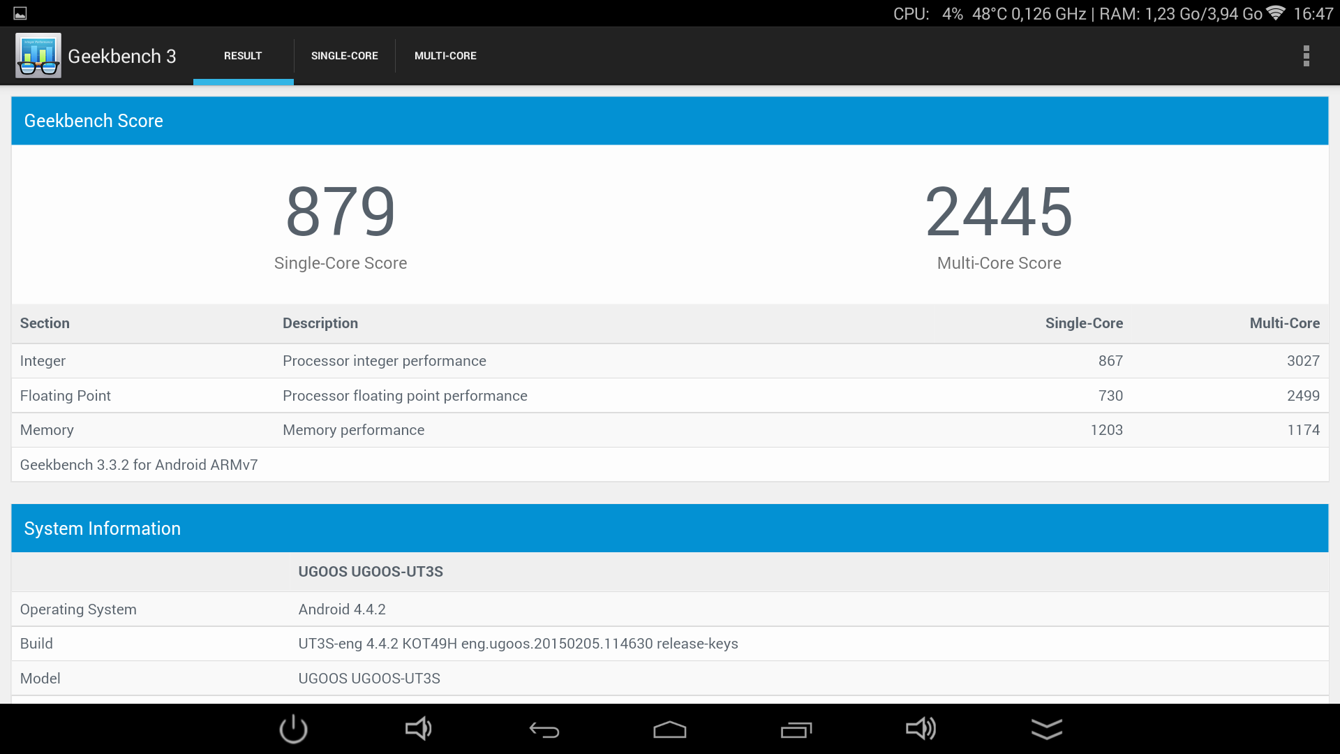 UGOOS UT3S - GeekBench3 Score 1.8ghz