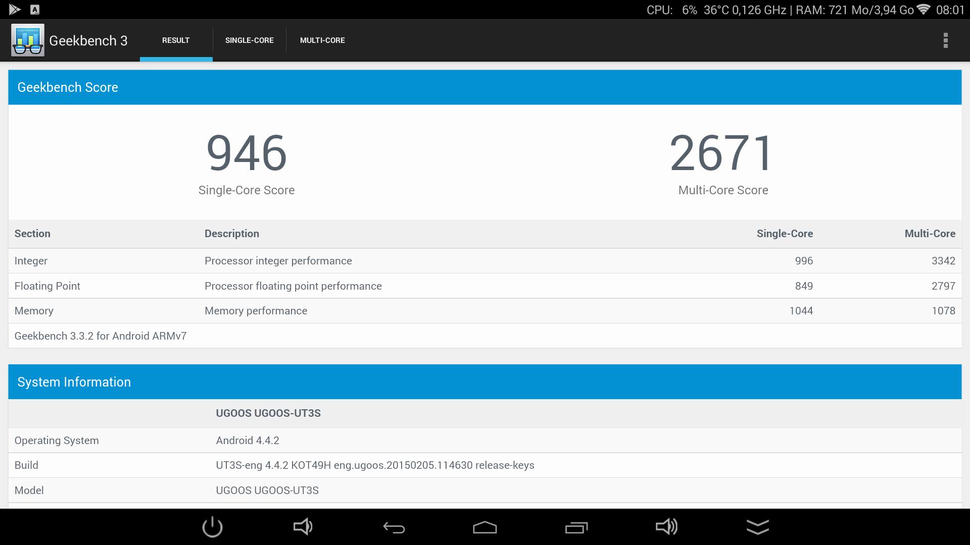 UGOOS UT3S - GeekBench3 score 2.1ghz