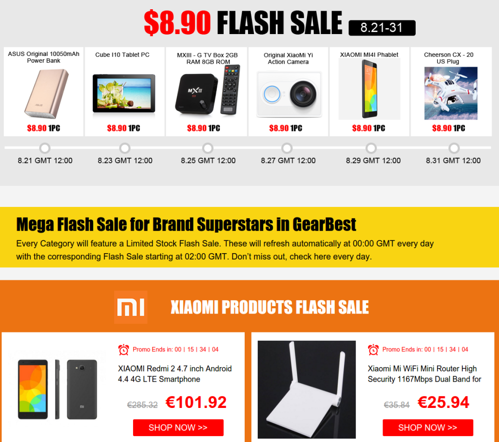 Promo Aout Gearbest