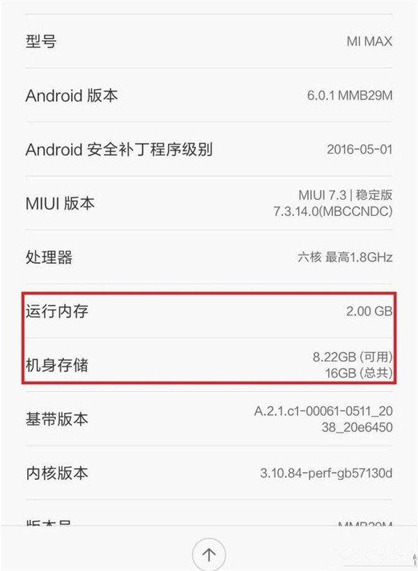 Xiaomi Mi Max 2GB - leak