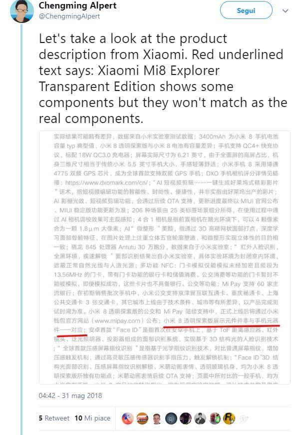 Xiaomi Mi 8 explorer twitter