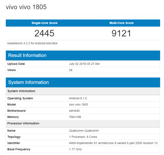 Vivo 1805 Geekbench snapdragon 845