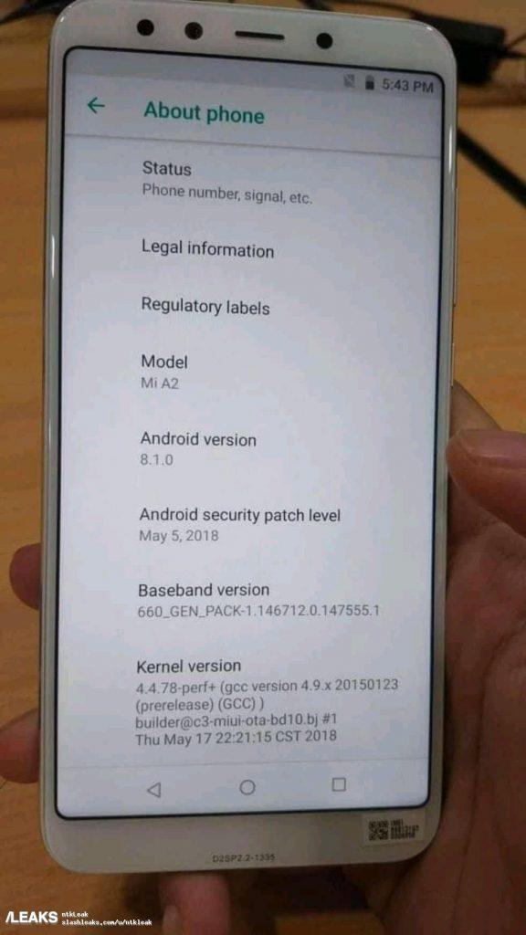 Xiaomi Mi A2 à propos du tel